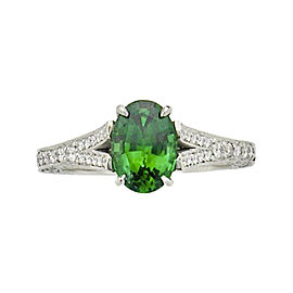 Platinum 1.30ct Tsavorite and Diamond Ring Size 6