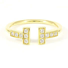Tiffany & Co. 18K Yellow Gold Diamond T Wire Ring CHAT-186