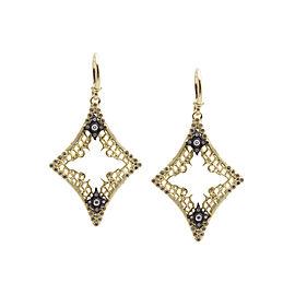 Blackened Sterling Silver/18k Yellow Gold Medium Open Diamond-shaped Mesh Earrings