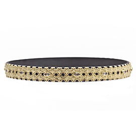 Blackened Sterling Silver/18k Yellow Gold Wide Carved Bangle Bracelet With White Sapphires