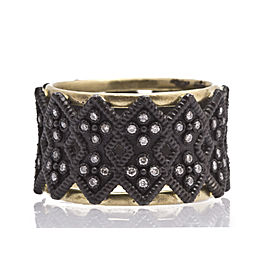 Blackened Sterling Silver/18k Yellow Gold Double-cravelli Wide Band Ring With White Diamonds