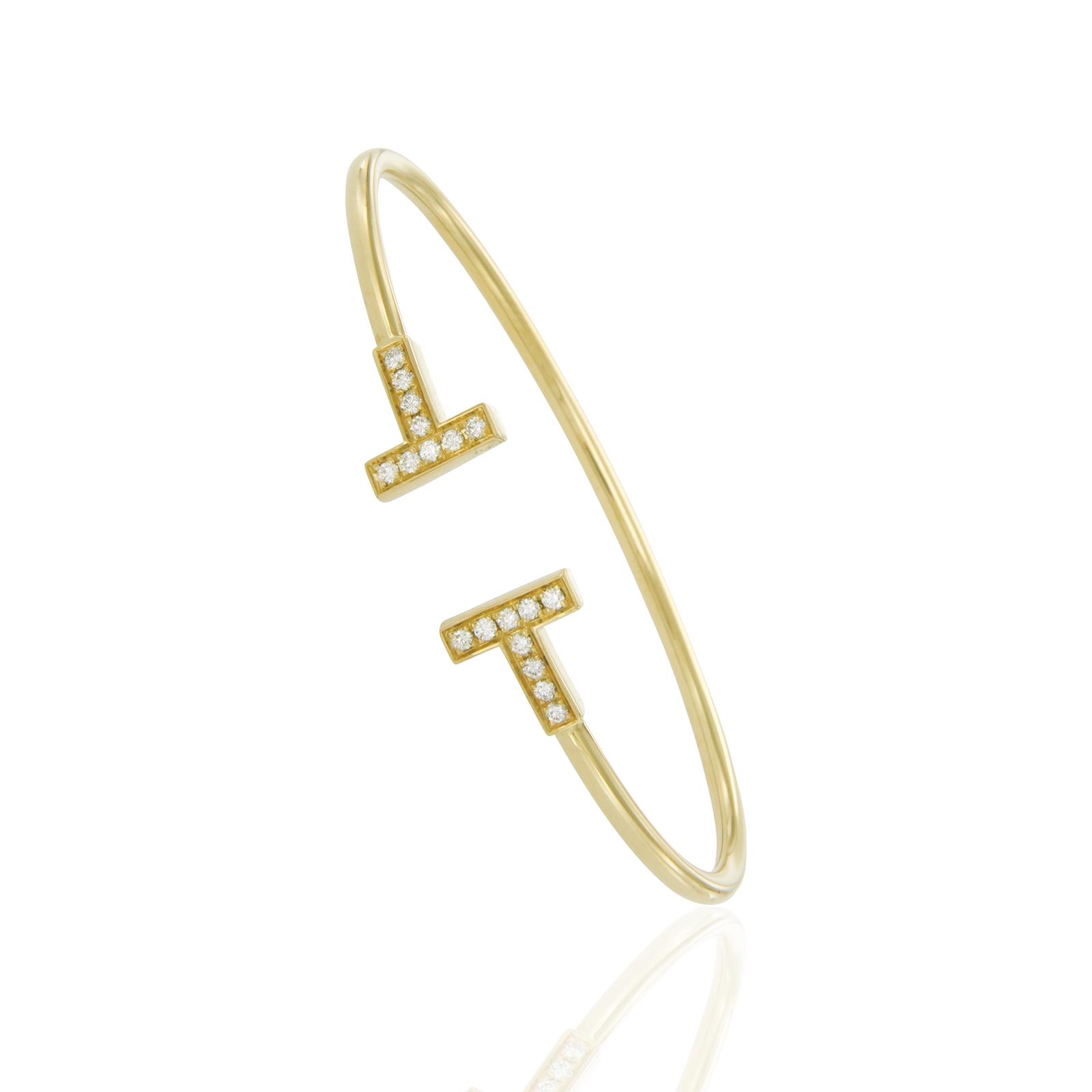 Tiffany Co 18k Yellow Gold Diamond T Wire Bracelet Tiffany Co Buy At Truefacet