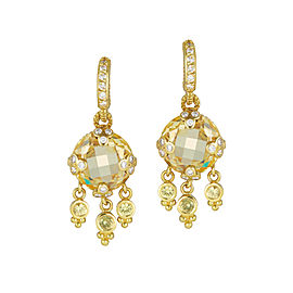 Judith Ripka Diamond and Yellow Sapphire Gothic Drop Canary Earrings