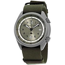 Hamilton Khaki Aviation H80405865 Aluminum Green Dial Nylon Strap 41mm Mens Watch