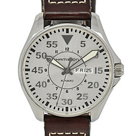 HAMILTON Khaki Pilot H646110 Silver Dial Stainless Steel/Leather Quartz Watch
