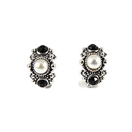 Stephen Dweck Sterling Silver Cultured Pearl Onyx Semi Hoop Earrings
