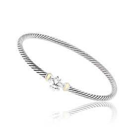 David Yurman Sterling Silver and 18K Yellow Gold Bracelet