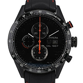 TAG HEUER ceramic/leather Carrera 1887 Chronograph Watch