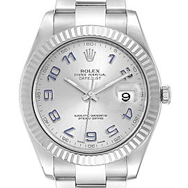 Rolex Datejust II 41mm Steel White Gold Blue Numerals Mens Watch 116334