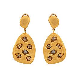 22K Yellow Gold Rose Cut Diamond Earrings