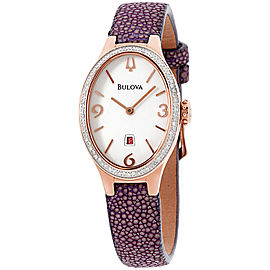Bulova 98R198 Rose Gold Tone Stainless Steel and Leather Quartz 25mm Womens Watch
