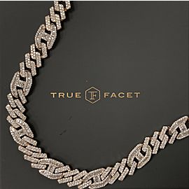 14K Rose Gold Men's 32.30ct Diamond Link Necklace
