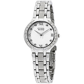 Citizen Bella EM012058A Stainless Steel wDiamonds White Dial Quartz 29mm Womens Watch