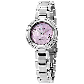 Citizen L Carina EM046050N Stainless Steel with Diamonds Mother of Pearl Dial 28mm Womens Watch