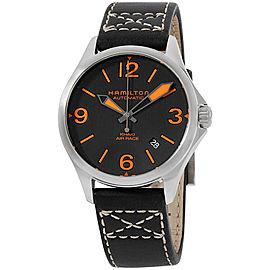 Hamilton Khaki Aviation H76235731 Stainless Steel Black Dial Leather Strap 38mm Mens Watch