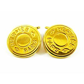 HERMÈS Gold-tone Clou de Sellier Cufflinks CHAT-58