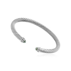 David Yurman Cable Classics Sterling Silver with Prasiolite & 0.18ct Diamonds Bracelet