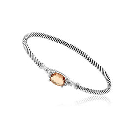 David Yurman 925 Sterling Silver Diamond Morganite Bracelet