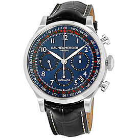 Baume & Mercier Capeland M0A10065 Silver Tone Stainless Steel & Blue Dial 44mm Mens Watch