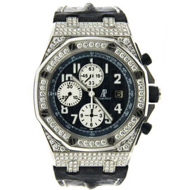 Navy Chronograph Royal Oak Offshore with White Diamonds