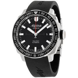 Alpina Adventure AL525LB4V6 Black Dial Silicone Strap 44mm Mens Watch