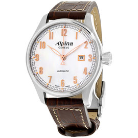 Alpina Startimer Pilot AL525SCR4S6 Silver Dial Leather Strap 44mm Mens Watch