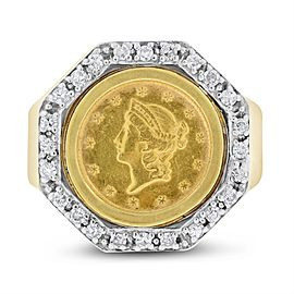 14k Yellow Gold 0.50ct. Diamond 1854 Liberty $1 Gold Coin Mens Ring Size 9.75