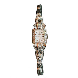 Hamilton 14K White Gold & Diamond Vintage 14mm Womens Watch