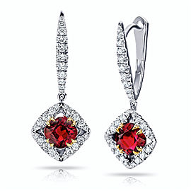 Platinum 18K Yellow Gold 1.17ctw. Ruby 0.29ctw. Diamond Earrings