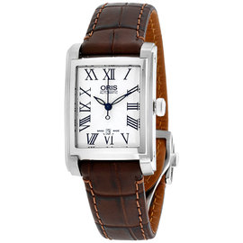 Oris Rectangular 56176564071LS Silver Dial Leather Strap 25mm Womens Watch
