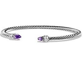 David Yurman Cable Classics Sterling Silver with Amethyst and 0.07ct Diamond Bracelet