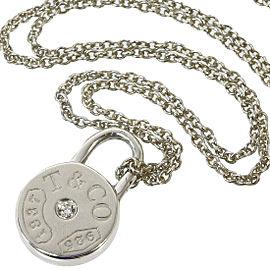 TIFFANY & CO. 925 Silver 1P Diamond Round Pendant Necklace