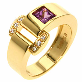 PIAGET 18K Yellow Gold Miss Protocol Pink Tourmaline Diamond Ring TNN-2031