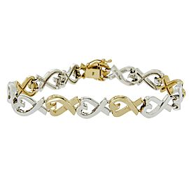 Tiffany & Co. Paloma Picasso 18k Yellow Gold Sterling Silver Hearts X Bracelet
