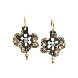 18k Yellow Gold Star Artifact Earrings With Blue Turquoise/rainbow Moonstone Doublets