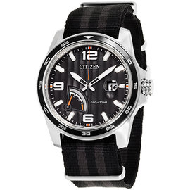 Citizen AW7030-06E Stainless Steel / Nylon with Black Dial 42mm Mens Watch