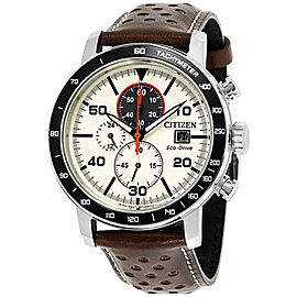 Citizen Brycen CA0649-06X Stainless Steel / Leather with Ivory Dial 44mm Mens Watch