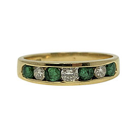 Effy 14K Yellow Gold Diamond Emerald Ring Size 7