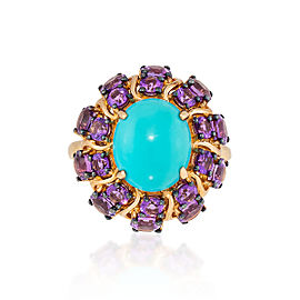 Le Vian Certified Pre-Owned Robin's Egg Turquoise and Grape Amethyst Ring set in 14k Honey Gold