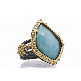Sterling Silver/18k Yellow Gold Carved Kite Ring With Blue Turquoise/rainbow Moonstone Doublet