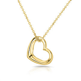 Solid Gold Heart Hoop Pendant and Chain 14k Yellow Gold