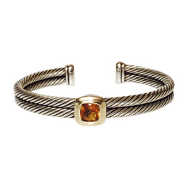 David Yurman 925 Sterling Silver & 750 18K Yellow Gold Citrine Noblesse Double Cable Cuff Bracelet
