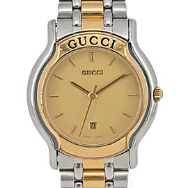GUCCI 8000L Date gold Dial SS/GP Quartz Ladies Watch