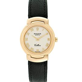 Rolex Cellini 18k Yellow Gold Black Strap Ladies Watch 6622