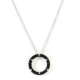 Roberto Coin 18K White Gold 24mm Black Sapphire Diamond Fantasia Circle Necklace