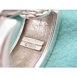 Tiffany & Co Silver RARE Wide Atlas Stripe Groove Hoops Clip On Earring