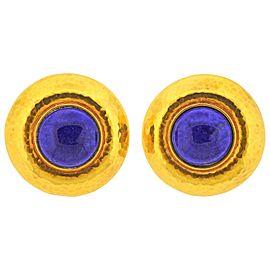 Hammered Gold Lapis Lazuli Earrings
