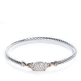 David Yurman Sterling Silver Petite Wheaton Bracelet With 0.37ctw Diamonds