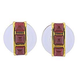 1970s Aldo Cipullo Carnelian Crystal Gold Earrings