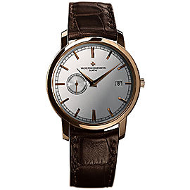 Vacheron Constantin Traditionnelle 87172/000R-9302 18K Rose Gold and Leather with Silver Dial 38mm Mens Watch
